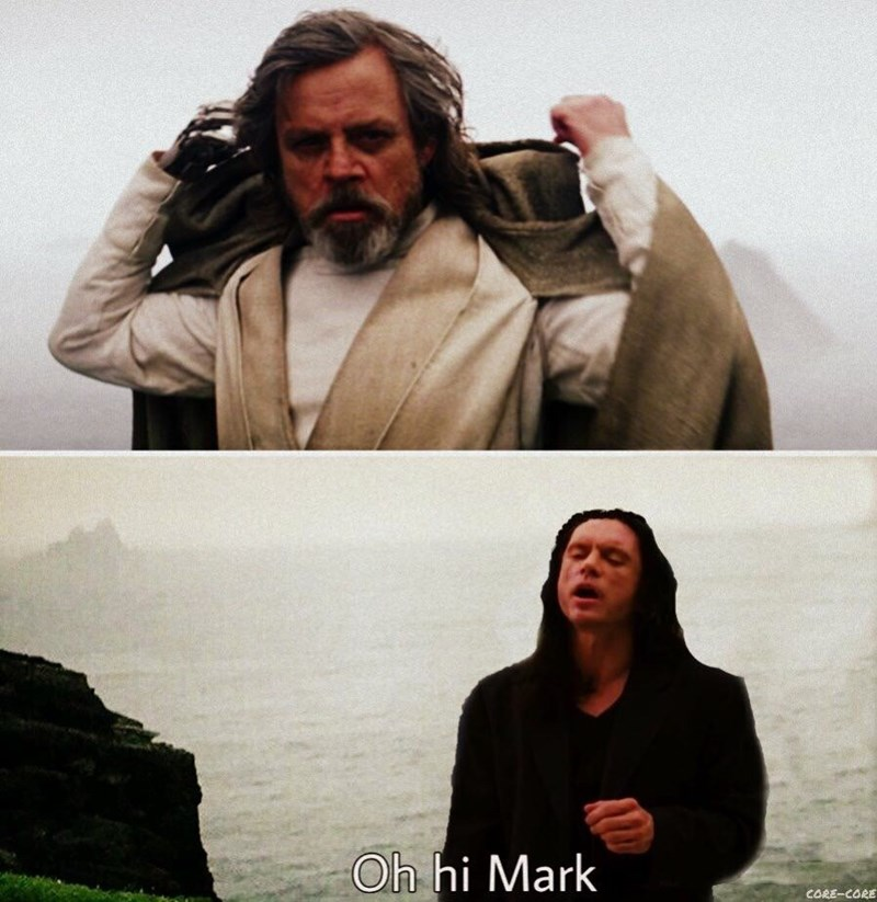 "random meme about Tommy Wiseau saying ""oh hi Mark"" to Mark Hamill in Star Wars"