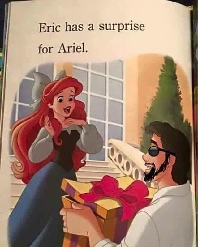 "random meme ""dick in a box"" with picture of bearded prince Eric in sunglasses handing Ariel a gift box"
