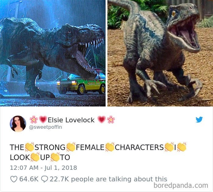 Tweet about looking up to strong female characters with pictures of female T-Rex dinosaurs from Jurassic World