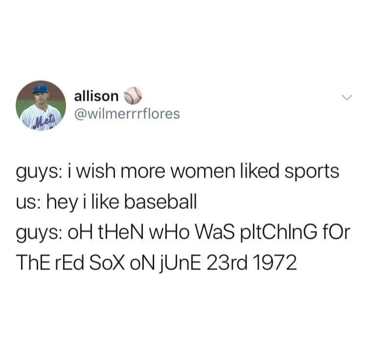 mocking Spongebob meme about guys gate keeping and questioning when women say they like sports