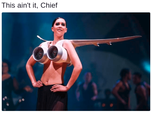 Boeing Bikini women on fashion runway wearing an airplane wing and engine themed top