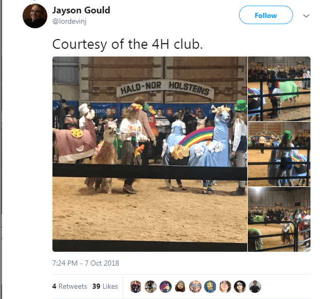 Website - Jayson Gould Follow @lordevinj Courtesy of the 4H club. HALD-NOR HOLSTEINS BMC 113 7:24 PM -7 Oct 2018 4 Retweets 39 Likes