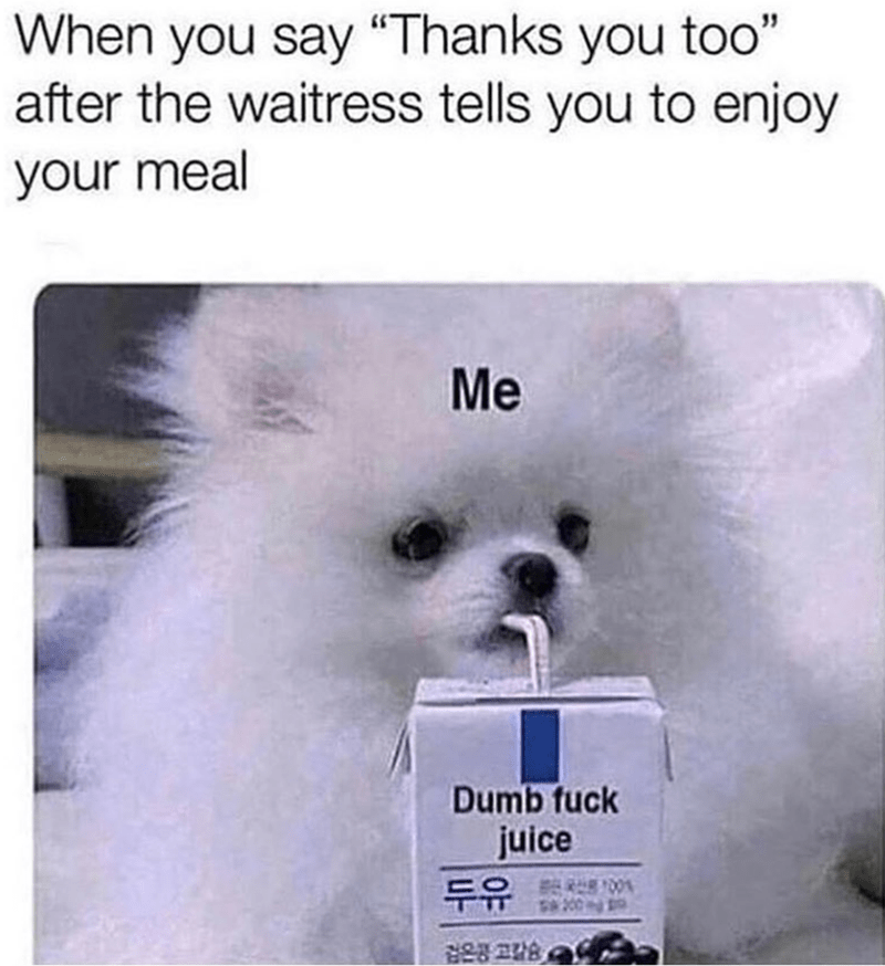 dog meme of a drinking out of a juice called 'dumb fuck juice'