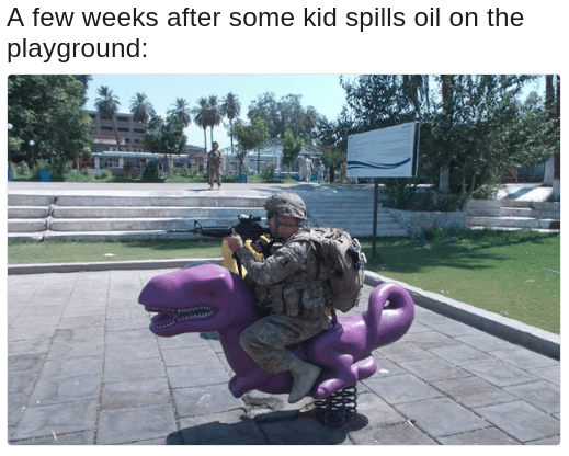 American Invading For Oil Meme of Soldier taking position on purple dinosaur in a playground