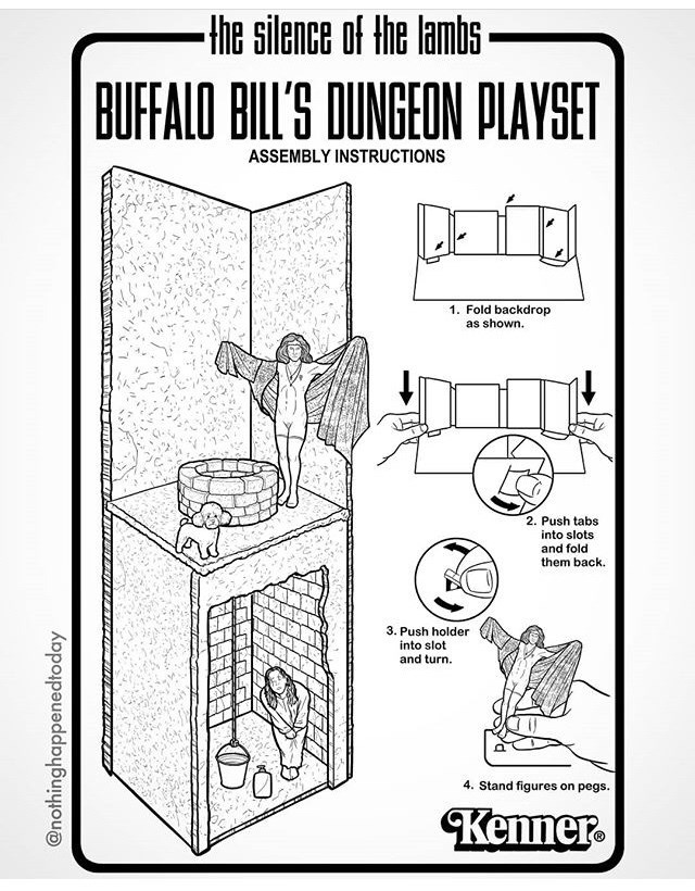weird meme - Cartoon - Hhe silence of the lambs BUFFALO BILL'S DUNGEON PLAYSET ASSEMBLY INSTRUCTIONS 1. Fold backdrop as shown. 2. Push tabs into slots and fold them back. 3. Push holder into slot and turn 4. Stand figures on pegs. Kenner @nothinghappenedtoday
