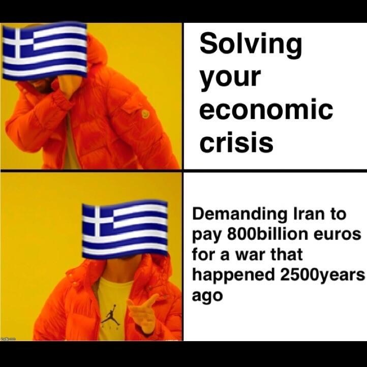 Drake hotline meme about Greece being more concerned with old war against Iran than their economic crisis