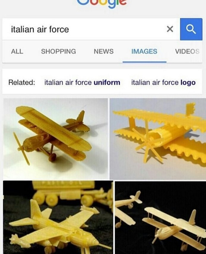 google search meme about the Italian air force being made of pasta