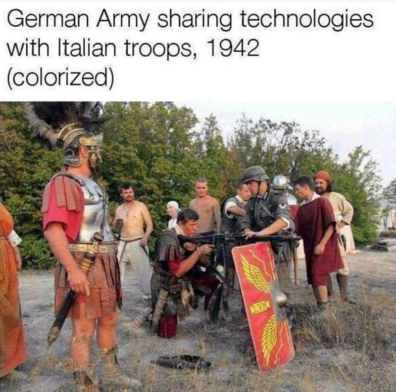 fake history picture of man in German military uniform teaching ancient Greek soldiers to shoot rifle