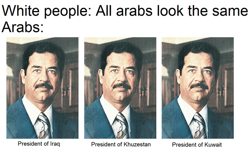 meme about Saddam Hussein being the president of different Arab countries