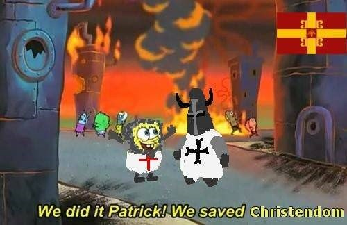 Spongebob meme about the Byzantine empire and saving Christendom