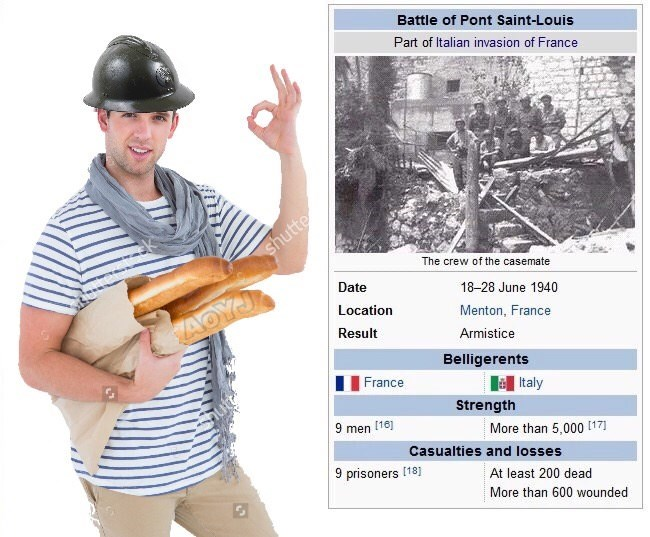 meme about small French force during the Italian invasion that still managed to get many kills