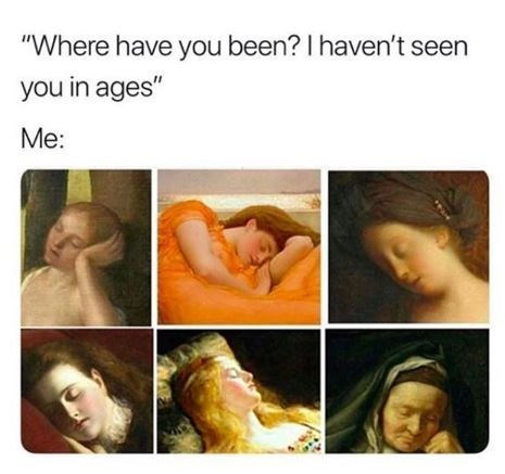 "Caption that reads, ""'Where have you been? I haven't seen you in ages;' Me: ..."" above a bunch of paintings of women sleeping"