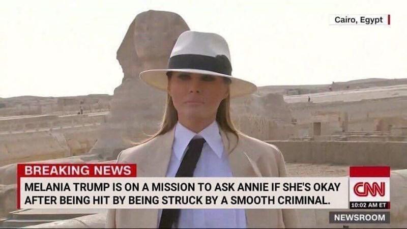 Melania Trump meme joking she looks like Michael Jackson