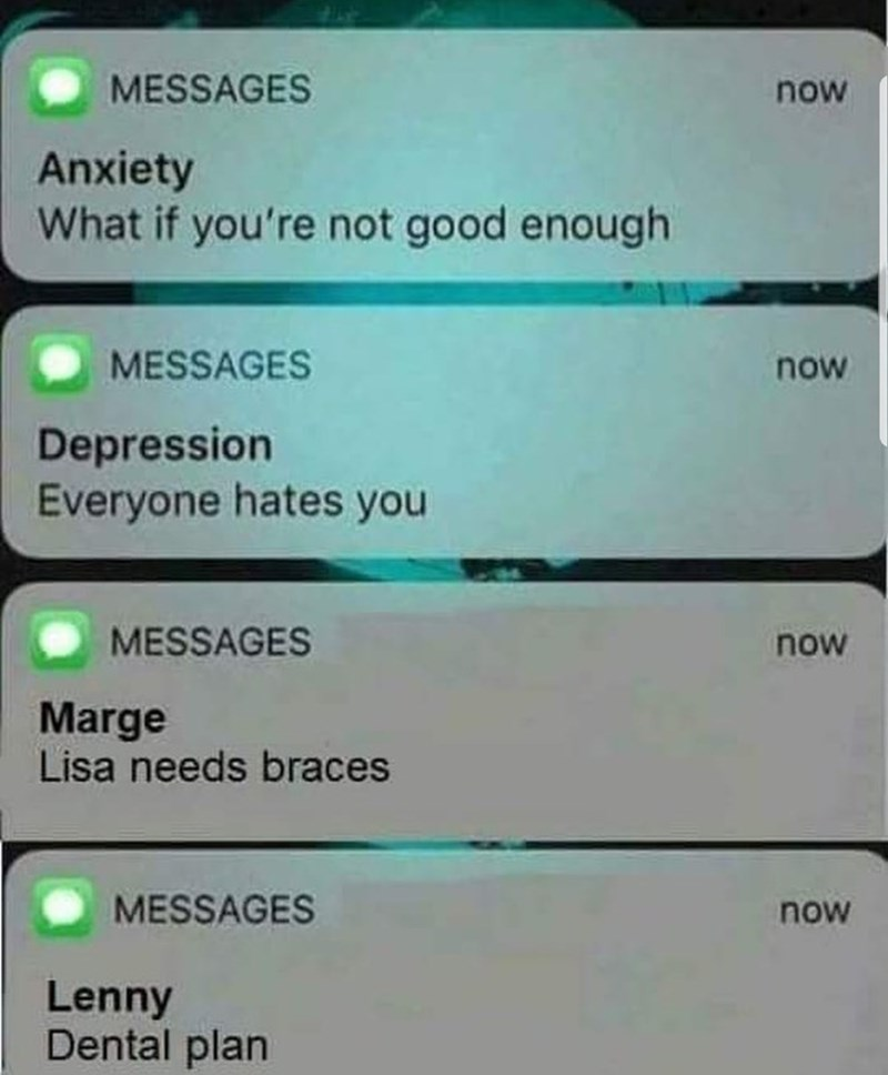 anxiety text messages meme