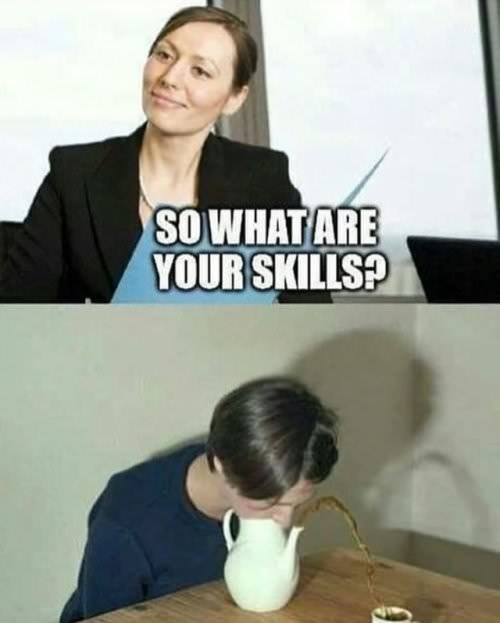 skills meme about shooting teat out of the kettle into the cup