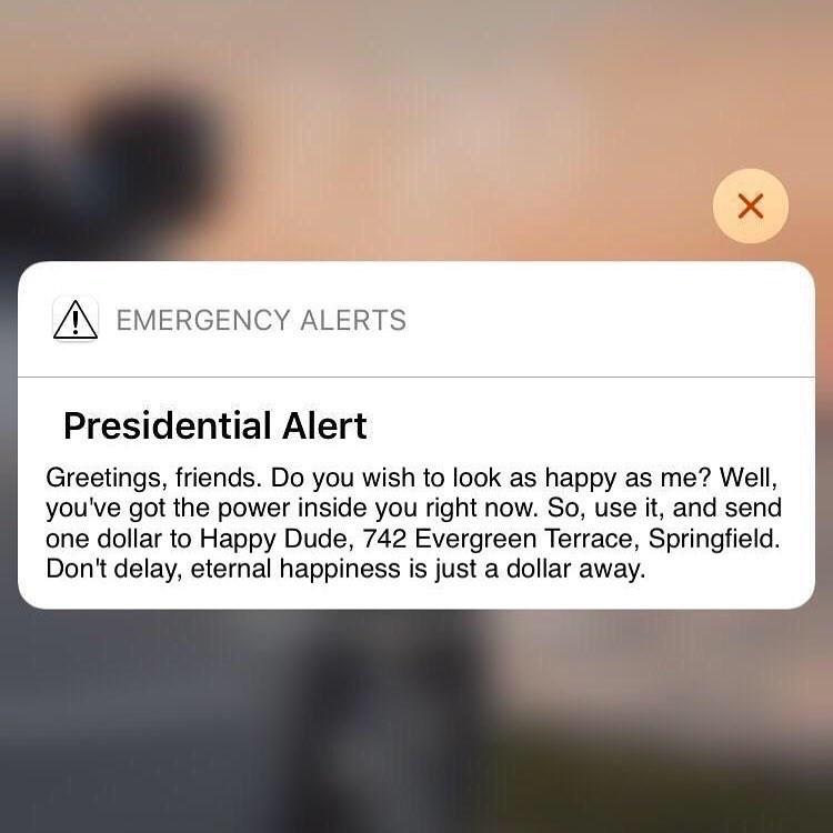 presidential alert meme asking to send a dollar