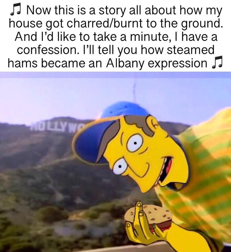 singing simpsons meme mocking fresh prince of bel air about Steamed Hams