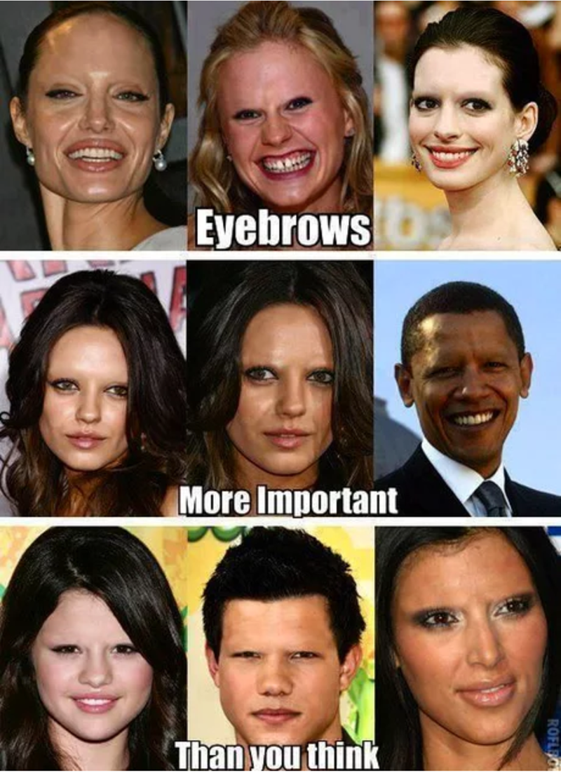 Creepy-looking pics of a bunch of attractive celebrities without eyebrows