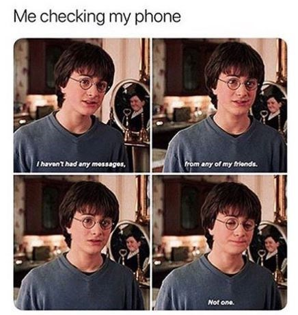 Harry Potter meme about being ignored by your friends