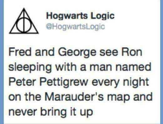 """Harry Potter Tweet that reads, """"Fred and George see Ron sleeping with a man named Peter Pettigrew every night on the Marauder's map and never bring it up"""""""