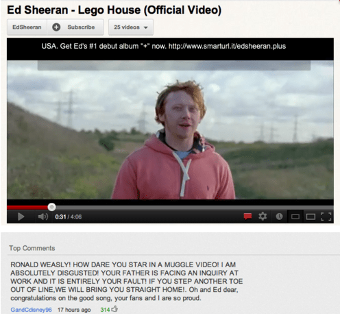 YouTube comment from Ron Weasley's mother left on an Ed Sheeran music video