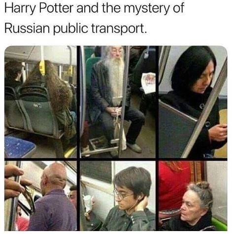 Harry Potter meme with pics of public transport passengers who look like characters from the movies
