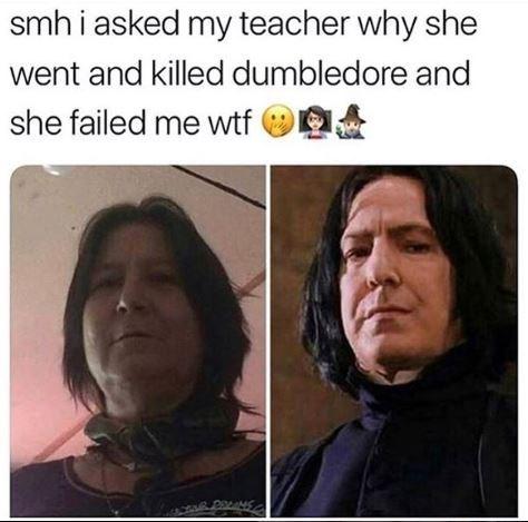 Harry Potter meme about having a teacher that looks like professor Snape