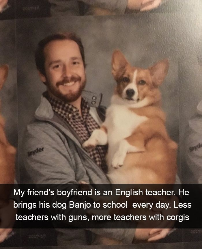 pic of dog with his owner who is a teacher