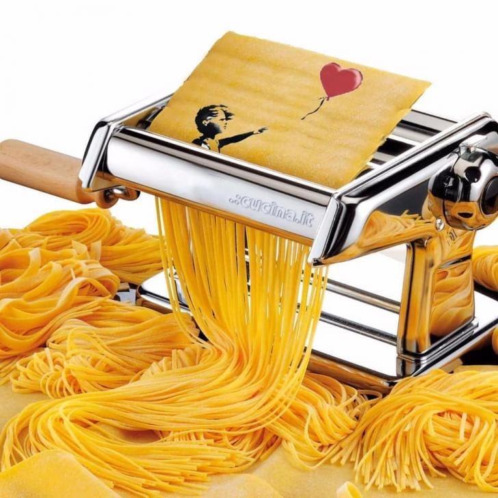 banksy spaghetti maker pasta art