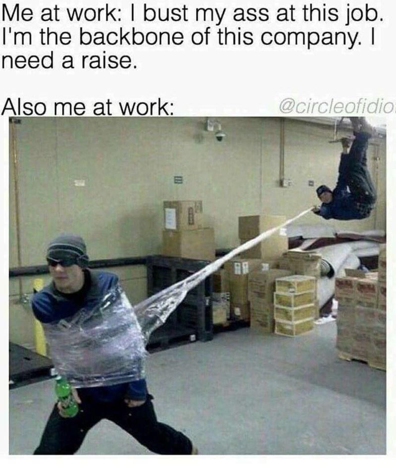 Joint - Me at work: I bust my ass at this job. I'm the backbone of this company. I need a raise. Also me at work: @circleofidio