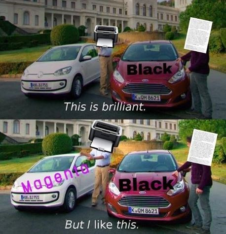 Printer Meme ordering magenta with two cars