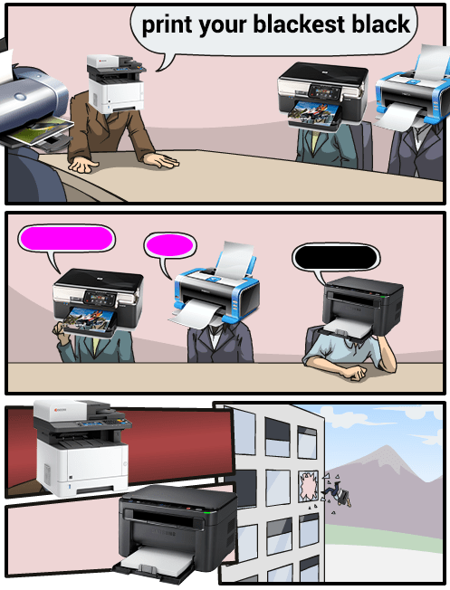 Printer meme telling other photoshop printer heads to print in black and the magenta printers kick him out