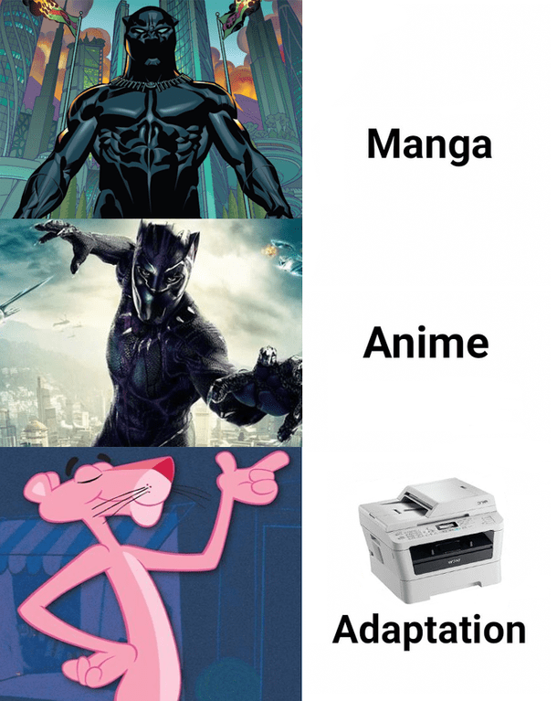 Printer meme and magenta printer with black panther and pink panther evolving