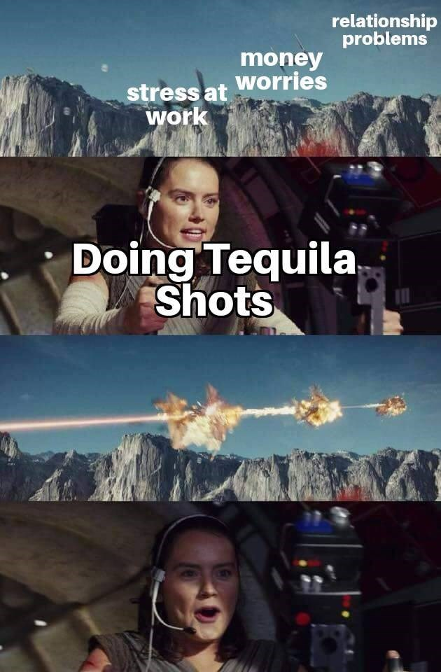 Movie - relationship problems money stress at Worries work Doing Tequila Shots