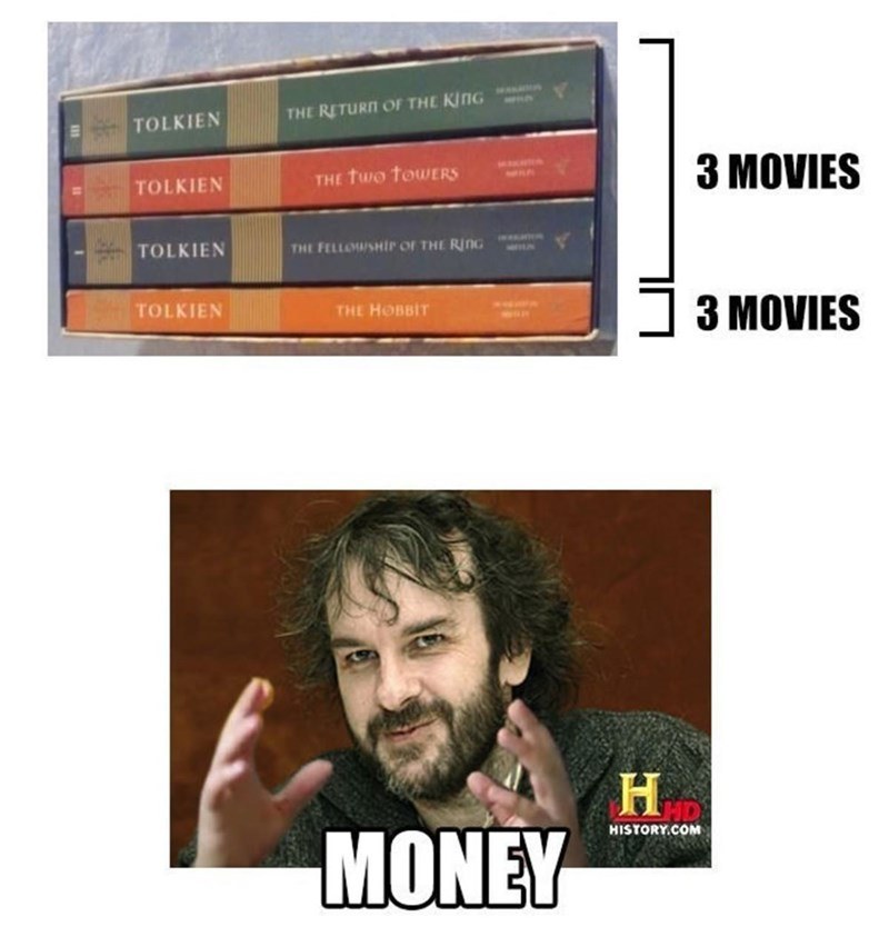 Text - THE RETURN OF THE KING ΤOLKIEΝ 3 MOVIES THE Two towErS TOLKIEΝ TOLKIEN THE FELLMSHIP OF THE RinG TOLKIEN THE HOBBIT 3 MOVIES MONEY HISTORY.COM
