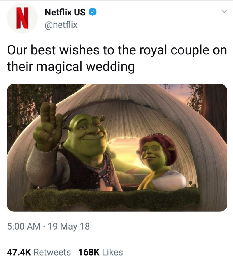 Text - N Netflix US @netflix Our best wishes to the royal couple on their magical wedding 5:00 AM 19 May 18 47.4K Retweets 168K Likes