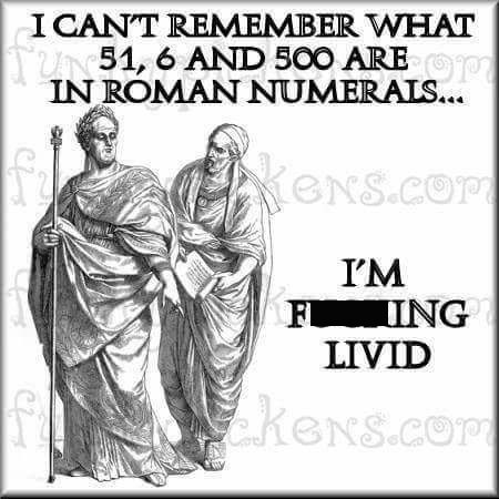 Text - ICANT REMEMBER WHAT TUN51, 6 AND 500 AREm IN ROMAN NUMERAIS... eNS.COP I'M F ING LIVID CKENS.CoP