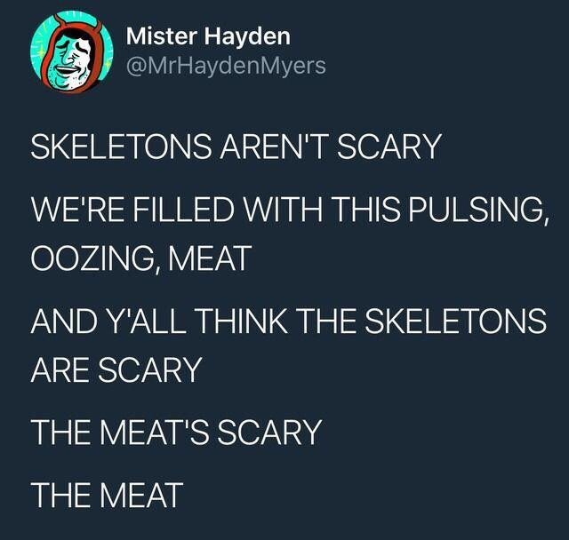 Text - Mister Hayden @MrHaydenMyers SKELETONS AREN'T SCARY WE'RE FILLED WITH THIS PULSING, OOZING, MEAT AND Y'ALL THINK THE SKELETONS ARE SCARY THE MEAT'S SCARY THE MEAT