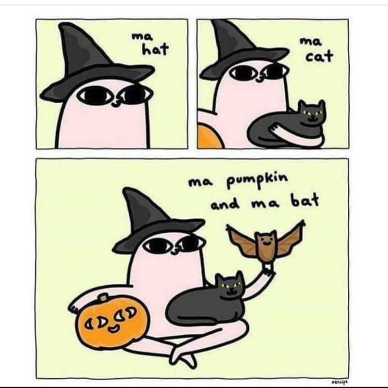 Cartoon - ma ma hat cat ma pumpkin and ma bat ADA