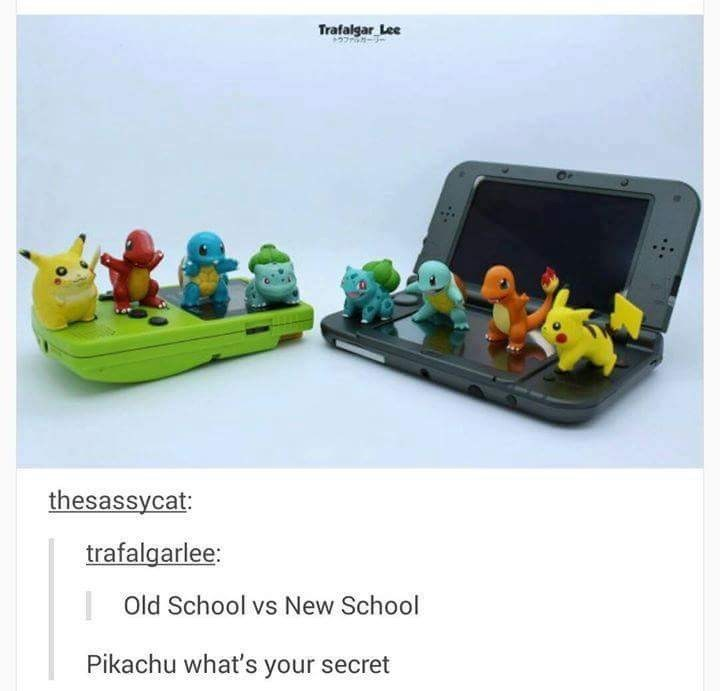 """Tumblr pic of an old game boy featuring a fat Pikachu figurine next to a Gameboy DS with a skinnier Pikachu figurine; Tumblr user comments, """"Old school vs. new school - Pikachu, what's your secret?"""""""