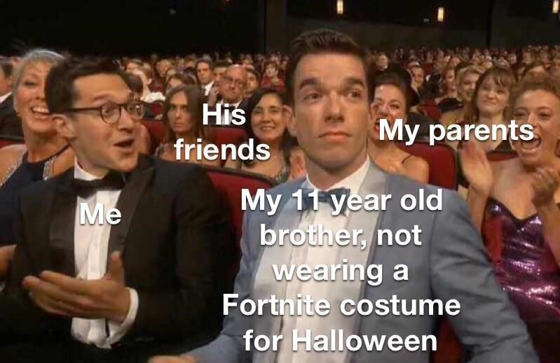 "Object label meme at an awards ceremony where John Mulaney represents ""My 11-year-old brother, not wearing a Fortnite costume for Halloween;"" the person next to him represents me; the other person next to him represents ""my parents;"" and the people behind him looking displeased represents ""his friends"""