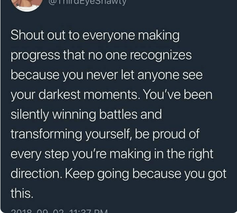 happy meme with tweet about being proud of your own progress