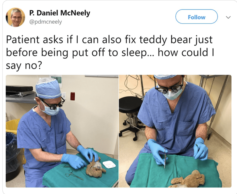 happy meme about surgeon operating on patient's teddy bear