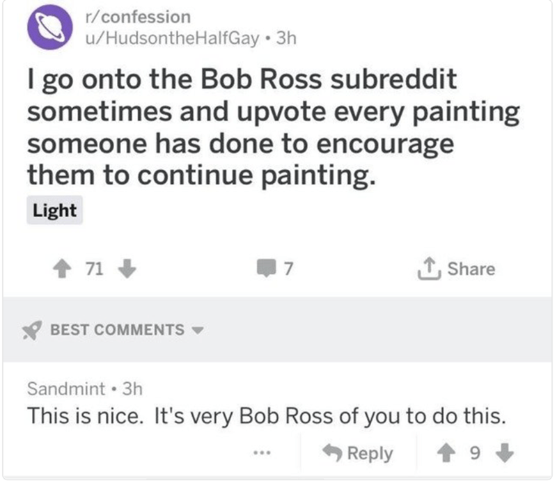 happy meme about being inspired by Bob Ross