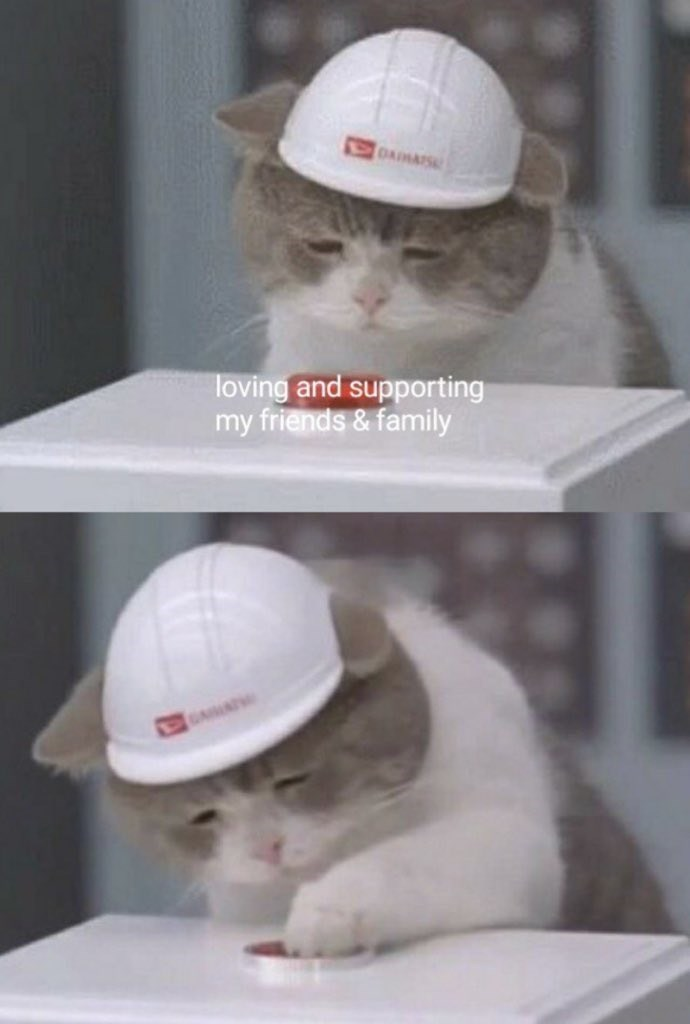 happy meme about loving my close ones with pictures of cat in hard hat pressing a button