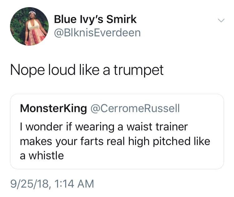 tweet about waist trainer making farts sound loud