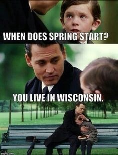 "Movie still where the boy asks, ""When does spring start?"" Johnny Depp's character says, ""You live in Wisconsin,"" and huge the little boy"