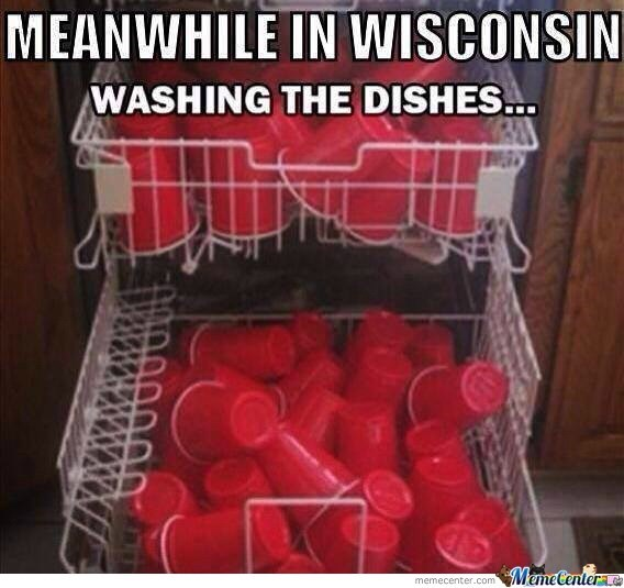 wisconsin meme - MEANWHILE IN WISCONSIN WASHING THE DISHES... MemeCentere memecenter.com