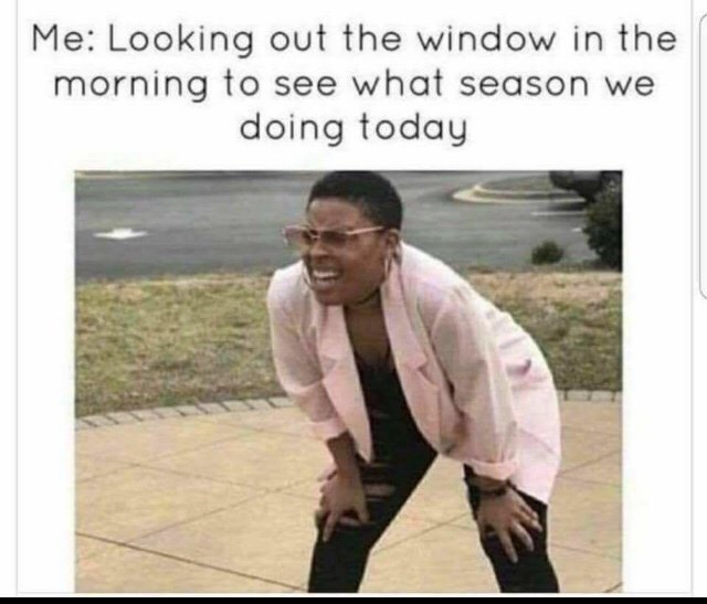 wisconsin meme - Text - Me: Looking out the window in the morning to see what season doing today