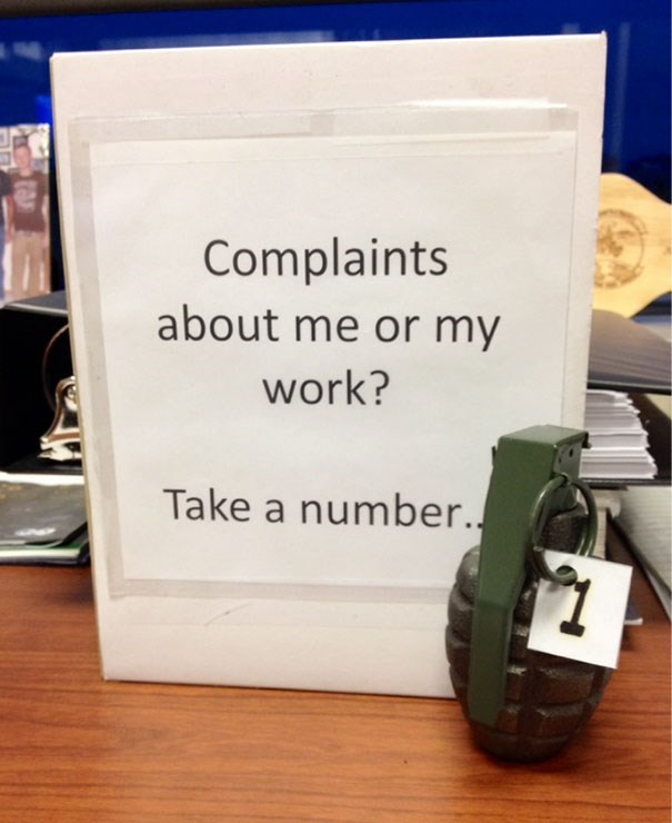 Text - Complaints about me or my work? Take a number.